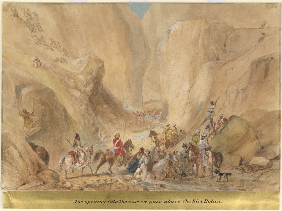 The narrow pass above the Siri Bolan (Baluchistan); Baluchi snipers attacking British troops from the heights as they pass through